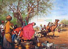 Best village photo image. Village picture image. #village Art Village, Village Photos, Indian Village, Village Drawing, India Painting, Mural Painting, Watercolor Paintings, Wall Paintings, Painting Canvas