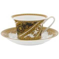 Versace I Love Baroque Low Cup & Saucer - Set of 6 - White ($1,295) ❤ liked on Polyvore featuring home, kitchen & dining, drinkware, white saucers, tea cups and saucers, white tea cups and saucers, tea saucer and tea cup