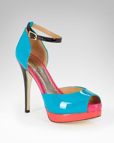 Guaranteed to add a color pop to any look. (bebe Kiara Patent Colorblock Sandal)