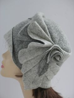Wool winter beanie Gray wool hat Ladies felt beanie Warm