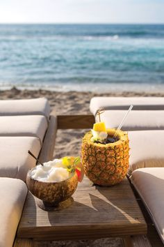 Coconut and pineapple drinks