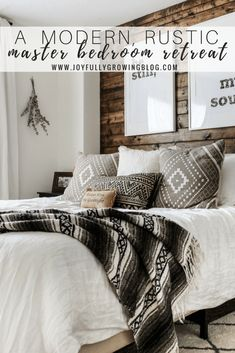Modern Rustic Bedroom Reveal + Tips on Blending Two Styles - - Today I am sharing all of the details from our rustic-made-modern master bedroom. I've shared a few photos of this space before…. Modern Rustic Bedrooms, Rustic Master Bedroom, Modern Rustic Decor, Cozy Bedroom, Home Decor Bedroom, Bedroom Inspo, Bedroom Furniture, Rustic Style, Rustic Wood