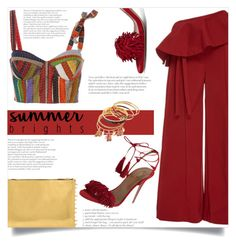 """""""#summerbrights #contest entry"""" by lisamichele-cdxci ❤ liked on Polyvore featuring Rosie Assoulin, Aquazzura, contestentry and summerbrights"""