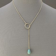 Gold Simple Elegant Thin Chain Necklace With Turquoise Stone Ring Pendant