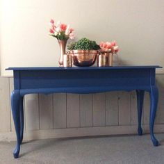 Sofa table makeover refinished in Sapphire Skies Chalk Paint Colors, White Chalk Paint, Color Of The Year, Rustic Farmhouse, Your Space, Contemporary, Modern, Entryway Tables, Sapphire