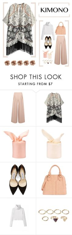 """""""#HiStyle 14: K-mono"""" by cigitha ❤ liked on Polyvore featuring Antipodium, WithChic, Jimmy Choo, Sole Society, Forever 21, Accessorize and kimonos"""
