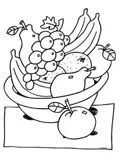 Coloring page fruit basket - Knutselpagina.nl - crafting, crafting and more crafting . Fruit Coloring Pages, Farm Animal Coloring Pages, Easy Coloring Pages, Flower Coloring Pages, Coloring Pages For Kids, Coloring Books, Drawing Lessons For Kids, Art Drawings For Kids, Easy Drawings