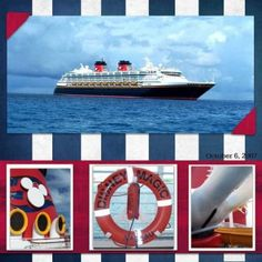 Disney Cruise-scrapbook page Cruise Scrapbook Pages, Vacation Scrapbook, Scrapbook Page Layouts, Scrapbooking Ideas, Digital Scrapbooking, Disney Vacations, Vacation Trips, Travel Book Layout, Cruise Pictures