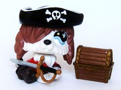 Littlest Pet Shop Pirate Captain Custom Figure LPS OOAK Sea DOG Treasure chest  #Hasbro