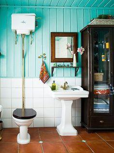 home visit – norway Blue Palette, Visit Norway, Vintage Bathrooms, Blog Deco, Wooden Walls, Bathroom Inspiration, Powder Room, Sink, Design