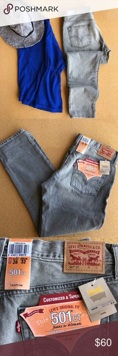Levi's 501 CT light grey wash tapered denim NWT Amazing light grey wash. Can't find an accurate stock photo of color, it's very pretty. Great quality, easy to wear. These are my daily go tos Levi's Jeans