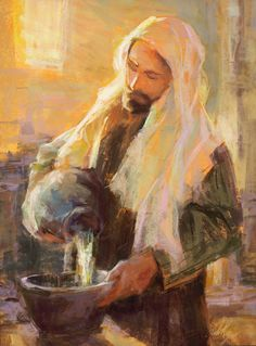 Jesus preparing to wash the disciples feet, I assume? Jesus Christ Images, Jesus Art, Lds Art, Bible Art, Christian Images, Christian Art, Catholic Art, Religious Art, Paintings Of Christ