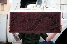 Aaron Horkey: True Grit Laser-Etched Wood Panel