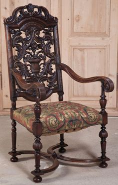 Antique French Louis XIV Tapestry Armchair