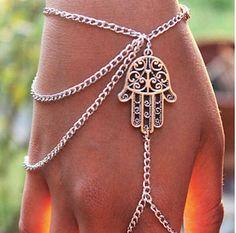 Asymmetric Men Women Hamsa Fatima Bracelet Finger Ring Slave Chain Hand Harness