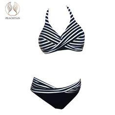 ac4b82352c Peachtan Striped plus size swimwear Halter swimsuit female Sexy bikini  micro Push up bathing suit women bathers two-piece suit
