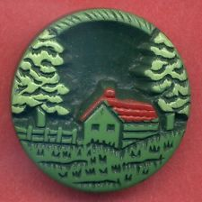 Vintage Buffed Celluloid Button…Uncommon Pictorial Scene…House, Fence, Trees