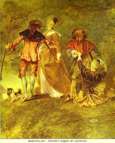 Jean-Antoine Watteau. Embarkation for Cythera, or The Pilgrimage to Cythera. Detail. 1717. Oil on canvas. Louvre, Paris, France