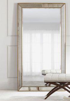 Floor mirror for bedroom. Aldina+Golden-Beaded+Floor+Mirror+at+Horchow. Living Room Mirrors, Living Room Decor, Bedroom Decor, Mirror Bedroom, Master Bedroom, Foyer Mirror, Entryway Wall, Bedroom Office, Decor Interior Design