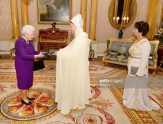 Queen Elizabeth II is presented with Letters of Credence by His Excellency Mr Abdesselam Aboudrar, the Ambassador of Morocco, accompanied by Mrs Saloua Larhrissi, during a private audience at Buckingham Palace on February 9, 2017 in London, England.