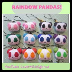 Handsewn Rainbow Panda Plush Charms!  One of my latest projects complete; a whole arrangement of rainbow panda charms!  Come find me at these other awesome places!!  *~*~*~*~*~*~*~*~*~*~*~*~* Instagram: Raichurebel  YouTube:  Lovermidnightxd   Crafty Amino: Raichurebel  Art Amino: Raichurebel  Facebook Page:  Lovermidnight Page