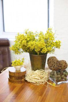 yellow flowers, rustic flowers, twine heart