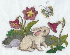 Bunny and Flowers design (F9527) from www.Emblibrary.com