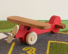Toy Red Airplane - Handcrafted Wooden Toy Red Airplane
