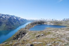 View of Gjende Lake and Jotunheim National Park from Besseggen, Norway.