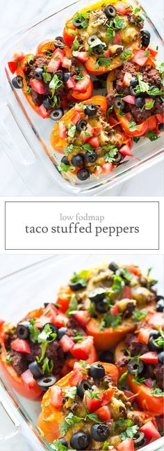Low FODMAP Taco Stuffed Peppers make an easy meal. This supper recipe is full of spices and fresh flavor. Gluten free and easily modified to dairy free, whole30 and paleo friendly.