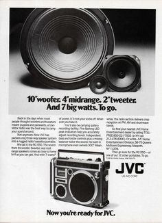 """1978 JVC RC-550 ad. 10"""" woofer. 4"""" midrange. 2"""" tweeter. And 7 big watts. To go. Now you're ready for JVC."""