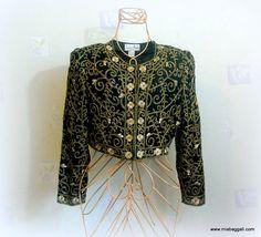 Be Dazzled Laurence Kazar Bolero ~ 1980's Vintage Glam metallic / beaded  ~ size L~ crop jacket /evening jacket...from mia baggali