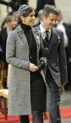 Crown Princess Mary of Denmark, Jan. 14, 2012.  Chanel-inspired boucle jacket + gloves & head pc, etc... classy