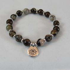 Jasper and Sterling Silver Stretch Bracelet/ Sterling Silver Lotus Charm Bracelet/ Handmade/ Hand Crafted/ Neutral Colors by NellieAnneDesigns on Etsy