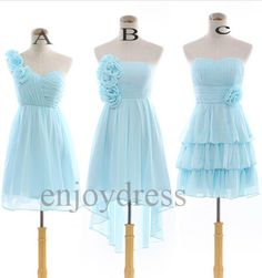 Custom Light BLue Bridemaid Dresses 2014 Short  Prom Dress Cheap Bridesmaid Dresses Party Dress  Homecoming Dress Evening Dresses