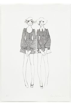 Twins in Biba dresses from a drawing made in 1968 by Bobby Hillson