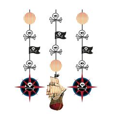 Pirates Map 36 inch Hanging Cutouts/Case of 18