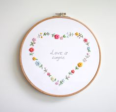 Wonderful Ribbon Embroidery Flowers by Hand Ideas. Enchanting Ribbon Embroidery Flowers by Hand Ideas. Embroidery Hearts, Simple Embroidery, Hand Embroidery Stitches, Silk Ribbon Embroidery, Embroidery Hoop Art, Vintage Embroidery, Cross Stitch Embroidery, Embroidery Patterns, Machine Embroidery
