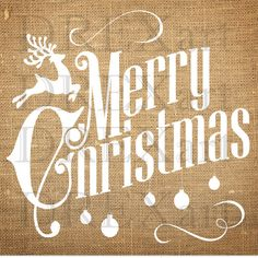 MERRY CHRISTMAS - Christmas STENCIL - for Burlap Pillows / Wood Signs - 12 x 12 - 7 mil Mylar