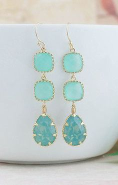 Pacific Opal Swarovski Crystal with Mint Opal Glass long Dangle Earrings...Love these