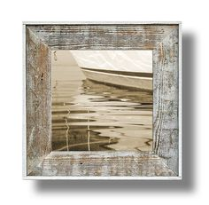"""Boat Reflection Artwork (#41) 14 x 14 canvas print  in a 22"""" x 22""""white washed frame (CL2214W-41)"""