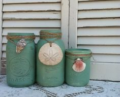 Beach Green Mason Jars w/Shells and Sand Dollar - Vintage Mason Jars