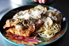 Chicken Scallopine (except I use milk instead of cream, and no capers, and sometimes with mashed potatoes instead of pasta)
