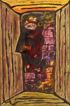 Jean Paul Sartre, 1998, pigments, synthetic wax fusion on canvas 120x80 cm