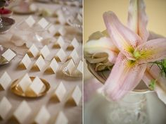 Love this escort card table! Beautiful vintage touches everywhere! I am in love with the lily flower. Meggie & Kevin's Hayfields Country Club wedding by Charlotte Jarrett Events