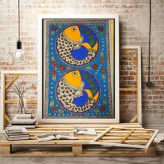 114 Likes, 3 Comments - Minal Indian Paintings On Canvas, Pichwai Paintings, Worli Painting, Kerala Mural Painting, Madhubani Art, Madhubani Painting, Folk Art Fish, Kalamkari Painting