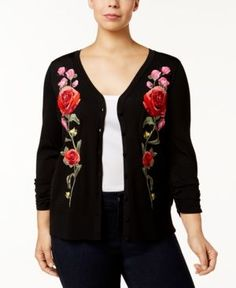 INC Plus Size Embroidered V-Neck Cardigan, Created for Macy's - Black 1X