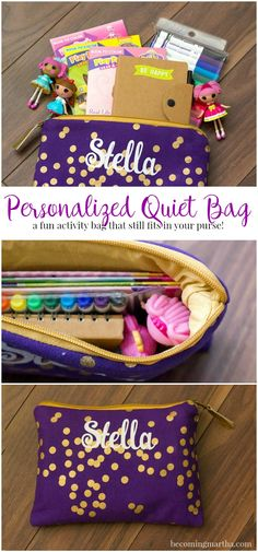 This personalized kids busy bag is small enough to keep in the car and carry in your purse - they also make a great gift for little ones!