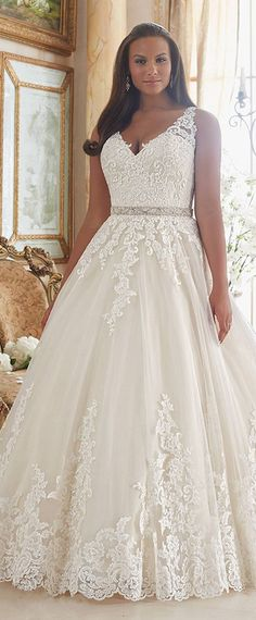 Graceful Tulle V-neck Neckline Ball Gown Plus Size Wedding Dresses With Lace Appliques