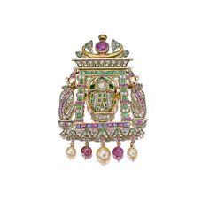A diamond, gem-set and cultured pearl pendant/brooch